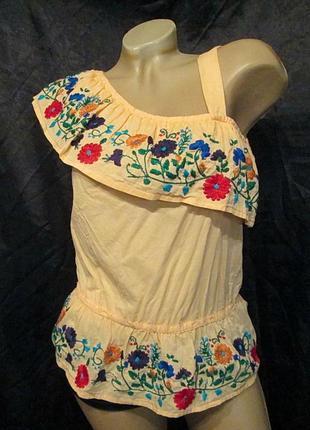 Шикарная вышиванка s-м топ блуза женская цветы хлопок вишиванка б/у