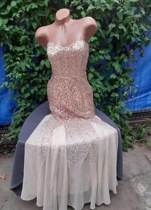 Шикарное блестящее платье шампань рыбка блестит нарядное вечернее красивое праздничное