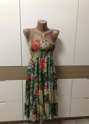 Стильное легкое шифоновое платье сарафан бондо воздушное