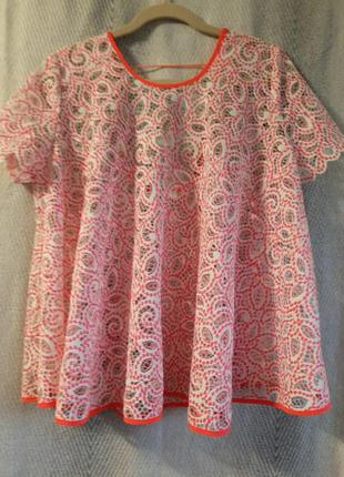 Женская летняя легкая гипюровая яркая неоновая блуза по типу вышиванка.