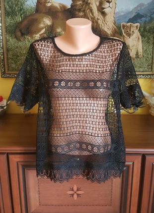 Шикарная кружевная блуза футболка кофта