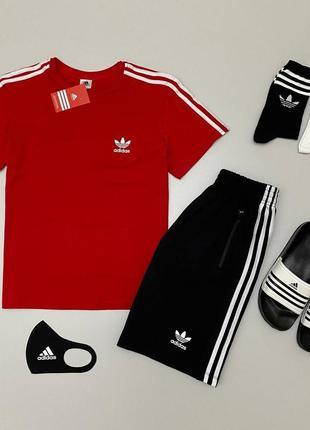 Adidas набор: футболка + шорты + тапки + маска + в подарок 2 пары носков 😎