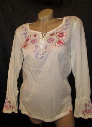 Брендовая вышиванка s-м esprit блуза женская цветы хлопок вишиванка б/у