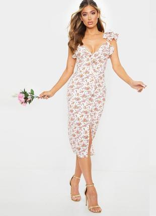 Распродажа платье prettylittlething миди с разрезом спереди asos