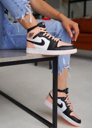 Nike jordan retro 1 pink black white размеры 36,37,38,39,40