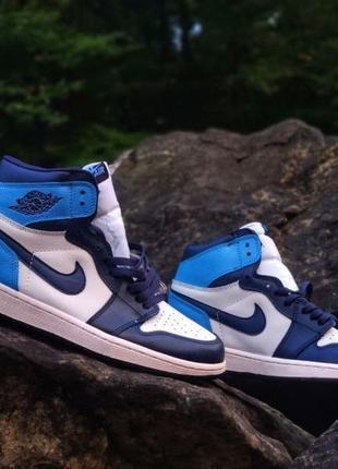 Nike jordan retro 1 blue white размеры 41-45