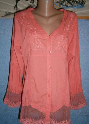 Блузка нежно терракотового цвета с кружевом и вышивкой разм.хл.