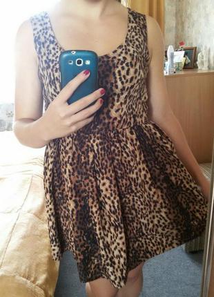 Леопардовое платье в стиле беби долл