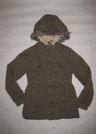 11-12 лет, классная куртка парка хаки зимняя yd