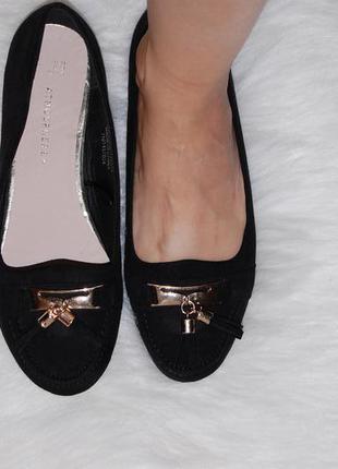 Туфли лоферы ,балетки черные атмосфера 38 р-р 24 см