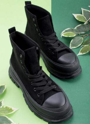 Высокие кеды на шнуровке/деми/чёрный цвет/размеры 36-41