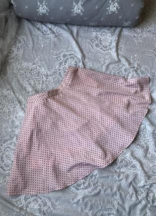 Мини юбка розовая в горошек bershka