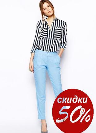 Обнова! брюки классика зауженные укороченные со стрелами серо-голубые