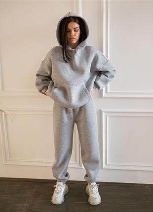 Спортивный костюм осенний оверсайз широкий женский на осень теплый флис цвета серый яркий батал большой под кроссовки 2021 трехнитка начес
