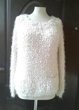 Буклированный белый свитерок с карманами, l- 2xl.