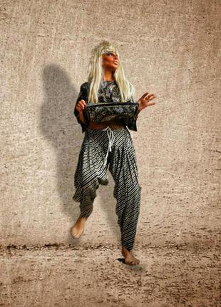 Шаровары в анималистический принт полоска зебра со складками штаны высокая посадка бохо этно стиль коттон хлопок