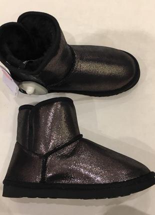36-41 размер угги   черные блестящие ботинки зимние сапоги короткие теплые мех