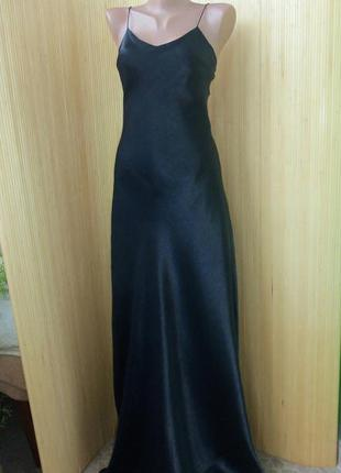 Струящееся французское  чёрное длинное вечернее платье на тонких бретелях