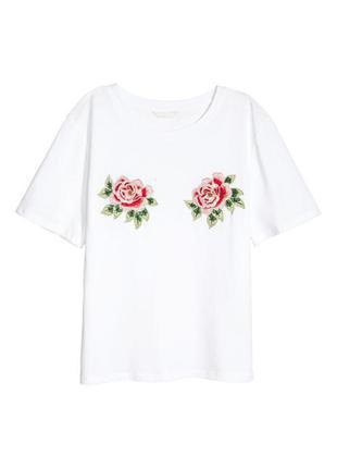 Белая футболка с вышивкой цветы розы h&m