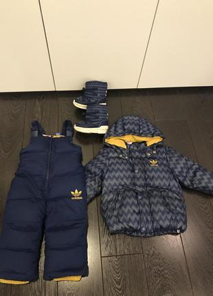 Зимний комбенезин adidas оригинал ботинки 21р