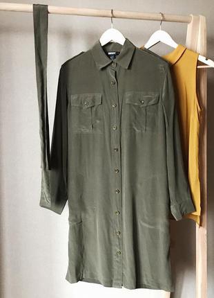 Шикарное шелковое платье-рубашка от известного бренда dkny