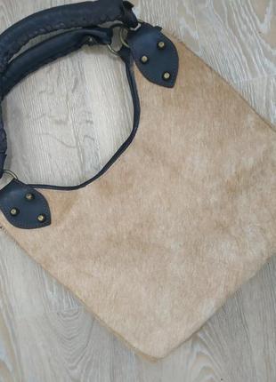 Кожаная сумка с ворсом