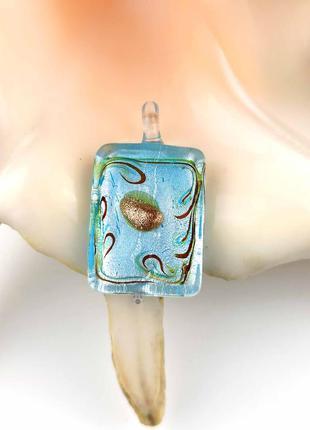 Кулон подвеска муранское стекло голубой с серебром прямоугольник мурано новый качественный