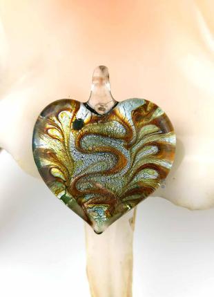 Кулон подвеска муранское стекло в форме сердце сердечко зеленый золото серебро мурано новый