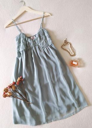 Платье на бретелях жемчужно-голубого цвета