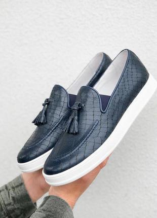 Стильные мужские лоферы туфли из натуральной кожи