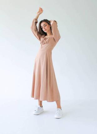 Платье сарафан длинное миди с разрезом и длинным рукавом  штапель летнее демисезонное бежевое