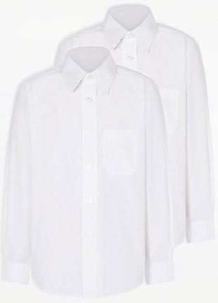 В наличии. рубашка, белая, длинный рукав, 6-7, 8-9, 10-11 лет,  george, slim fit