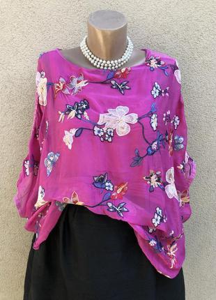 Розовая шелк блуза реглан с вышивкой,этно бохо стиль