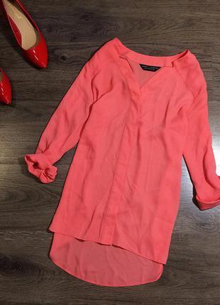 Шифоновая блуза кораллового цвета