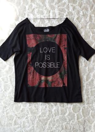 Черная хлопковая блуза, футболка colin's (турция) с цветочным принтом, размер m