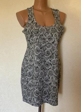 Платье майка сарафан серые розы