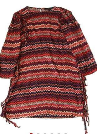 Платье в принт с бахромой от zara
