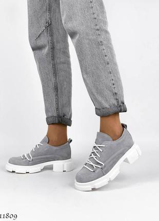 Туфли на тракторной подошве,  туфли замшевые,  туфли на шнурках,