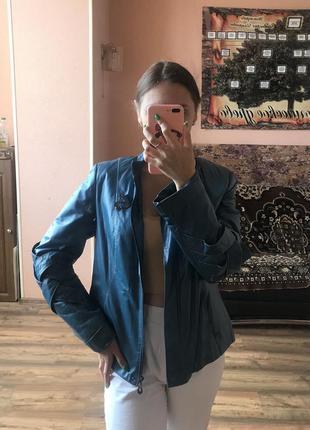 Куртка кожа синяя