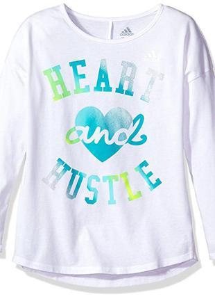 Хлопковая кофта свитер лонгслив туника adidas climalite на девочку 6-7 лет