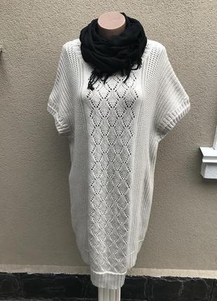 Теплая,шерстяная,вязаная,ажурная кофта,туника,платье,длинный свитер, большой размер.gap