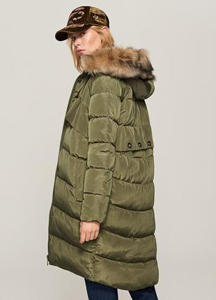 Xs-xl стильная хаки зеленая болотная зимняя куртка парка теплая с капюшоном мехом