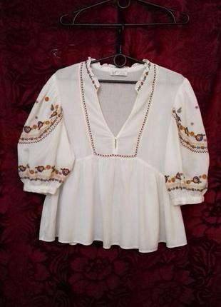 100% хлопок тонкий / свободная блузка с вышивкой и пышными рукавами / вышиванка / натуральная белая блуза