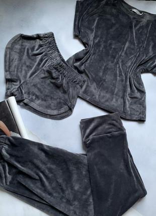 Велюровая плюшевая тройка пижама шорты футболка и штаны для дома и сна