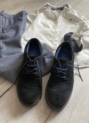 Синие замшевые туфли броги 32-33 размер в школу в стиле некст