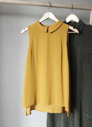 Горчичная шифоновая блуза от dorothy perkins