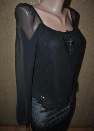 Блузка черная шифон шифоновая