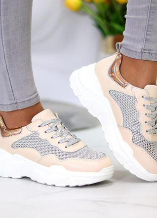 Кожаные женские кроссовки с сеткой пудра с серебром