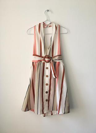 Новый льняной сарафан с бретелью через шею и поясом asos платье на пуговицах с открытой спиной