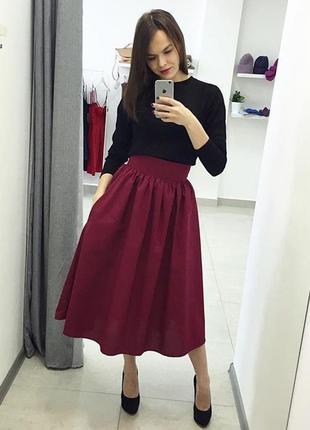 Пышная бордовая марсала юбка в сборку (три длины) р. xs, s, m, l, xl есть другие цвета